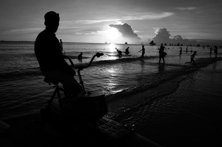 Fujifilm X-Pro2 XF18mmF2R. July 2016. Boracay Island, Aklan. Street Photography Monochrome Photography Eyeem Philippines Monochrome XF18mmF2.0 Xf18mm Fujifilm_xseries Fujifilm X-pro2 Silhouette Cloud - Sky Seascape Scenics Beach Life The Street Photographer - 2017 EyeEm Awards The Photojournalist - 2017 EyeEm Awards The Great Outdoors - 2017 EyeEm Awards