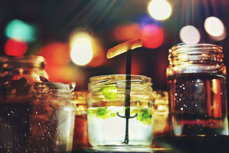 Low angle view of drinks on table