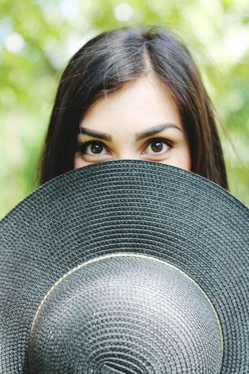Girls Eyes Black Hat Eyes Looking At Camera Portrait One Person Young Women Young Adult Real People Front View Beautiful Woman Lifestyles Day Leisure Activity Headshot Close-up Outdoors One Young Woman Only People Adult
