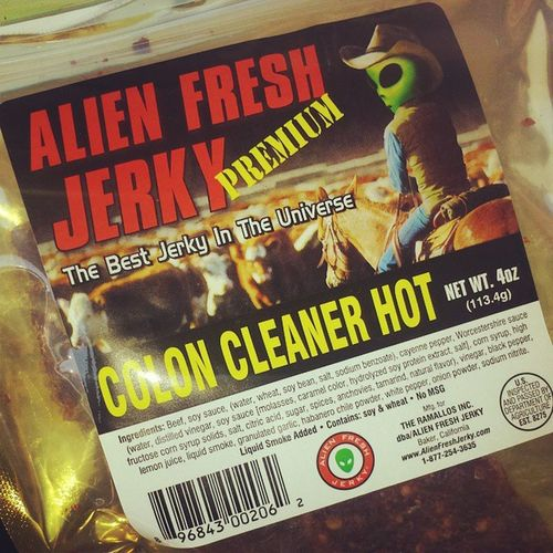 On our way to Vegas....should have read the label before i ate it @fsuposca AlienFood AlienJerky AlienProbed CheapColonic