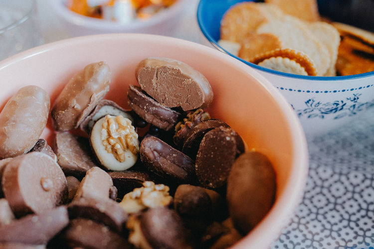 Chocolate Bowl Bowls Close-up Crackers Day Eat Food Food And Drink Freshness Indoors  Indulgence No People Nut - Food Plate Ready-to-eat Still Life Sweet Food Sweets Table Tablecloth Temptation