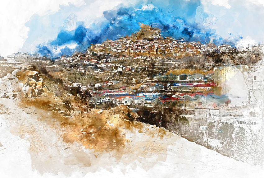 Digital watercolor painting of Morella. Morella is an ancient gothic city located on a hill-top in the province of Castellon, Valencian Community, Spain. Morella is in the heart of the historic region of Meastrazgo, and it is listed as one of the most beautiful towns in Spain Architecture Cloud - Sky Day Digital Art Digital Watercolor Digital Watercolor Painting Digitally Generated Image Europe Gothic History Landmark Landscape Maestrazgo Morella Mountain Nature Outdoors Sky SPAIN Travel Destinations Valley Village Watercolor
