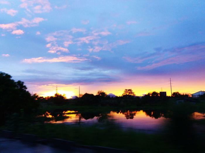 Sunset mirroring Tree Water Sunset Lake Reflection Landscape Cloud - Sky Dramatic Sky Silhouette