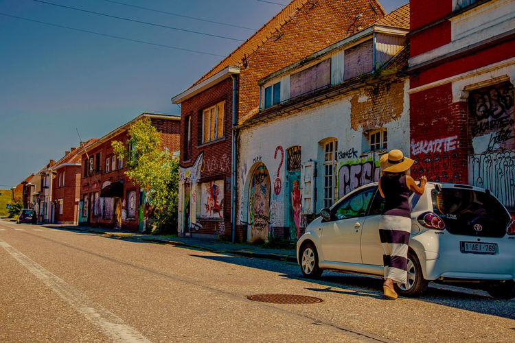 Abandoned Places Abandoned Village Antwerp Belgium Exterior Fashion Grafiti House Outdoors Urban White Car
