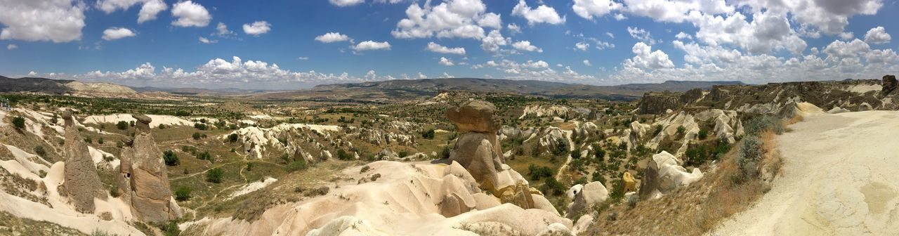 Panoramic Landscape Tranquil Scene Geology Tranquility Rock - Object Physical Geography Sky Non-urban Scene Rock Formation Scenics Mountain Environment Remote Nature Solitude Cliff Beauty In Nature Arid Climate Rocky Fairy Chimneys Clouds And Sky Capadocia Capadoccia The Great Outdoors - 2017 EyeEm Awards