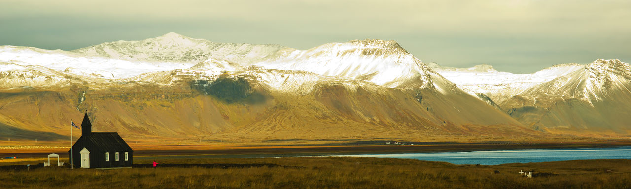 Mountain Scenics - Nature Mountain Range Beauty In Nature Cold Temperature Non-urban Scene Tranquil Scene Environment Landscape Nature Tranquility Day Outdoors Snowcapped Mountain Black Church Iceland