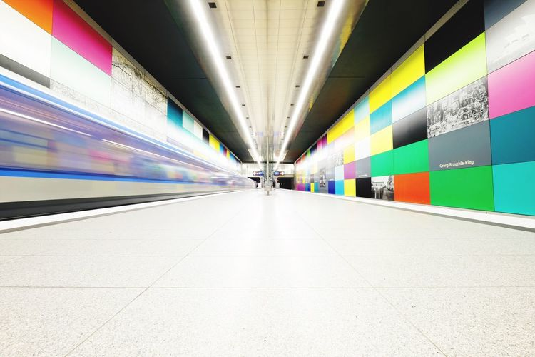Transportation Architecture The Way Forward Illuminated Ceiling Indoors  Multi Colored Built Structure Day City No People Colors Futuristic Tunnel Architecture Subway Train Blurred Motion