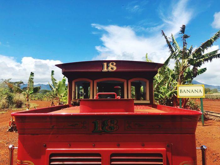 Train dole plantation Cloud - Sky Red Sky Text Communication Nature No People