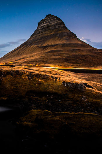 Scenic view of kirkjufell mountain at blue hour