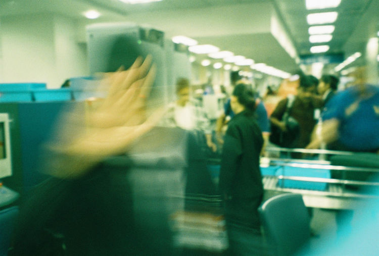 automatons 35mm Film AI Now Kodak 200 Motion Blur Airport Security Artificial Intelligence Film Photography Guard Human Hand Indoors  Metal Detector People Real People Women