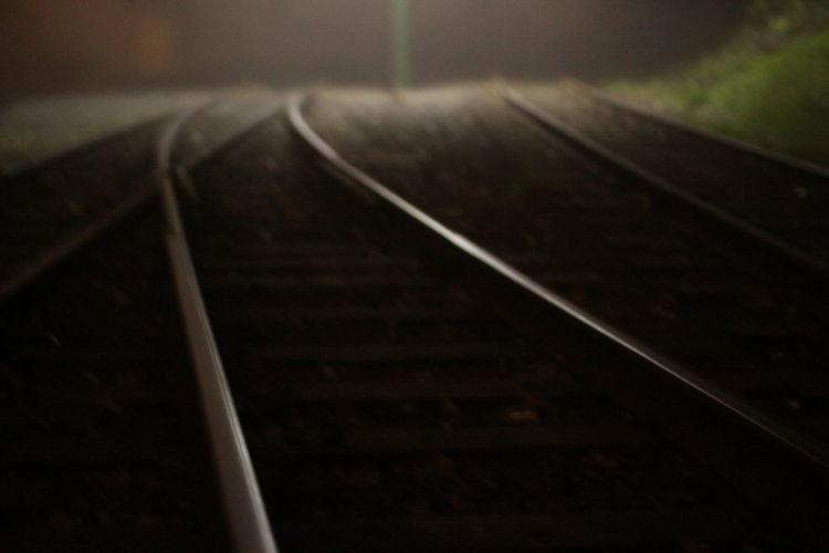 EyeEmNewHere Fog On The Tracks Gravel Railway Railway Light Blurrey Railway Track Sleeper Tram Tracks