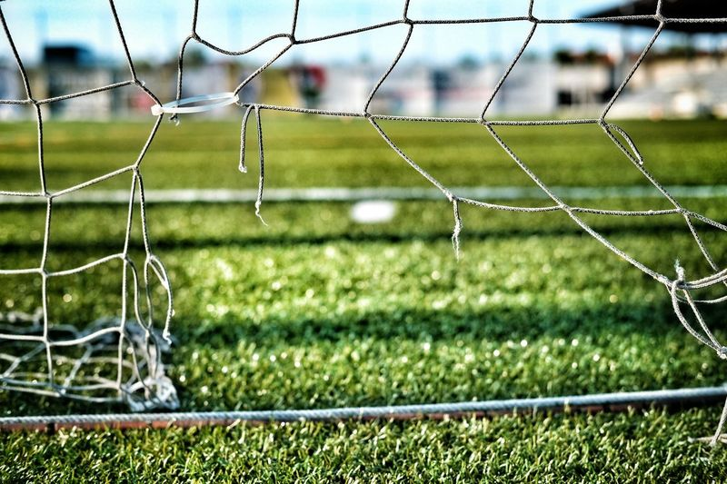 Close-up of damaged soccer goal