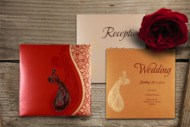 "Add warm elegance to your wedding with this beautiful Hindu wedding card. Details here: Go to Store: https://www.indianweddingcards.com/card-detail/CW-1742 Card Code:- CW-1742 Price: $0.75 Size:- 7.50 "" X 7.50 "" Weight: 70 Grams Card Colour:-Red Paper Type:- Shimmer Paper Insert's Colour: Copper, Cream Insert's paper type: shimmer paper Design: Paisley Process:-Silk Screen Printing, Hot foil stamping HinduCards HinduInvites HinduWeddingCards HinduWeddingInvitationCards HinduWeddingInvitations Eleganthinduinvites Onlineweddingcards"