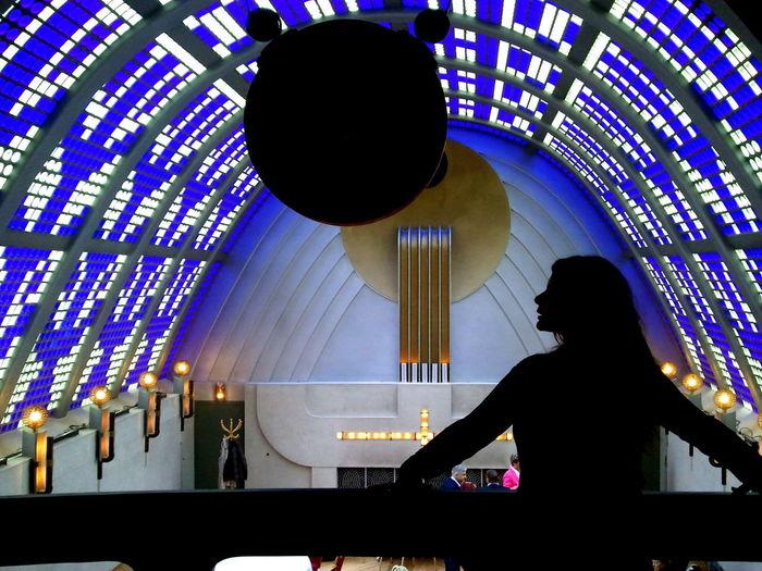 1931 Architectural Feature Architecture Bernhard Hoetger Blue Boettcherstrasse Bremen Ceiling Decoration Design Glass Blocks Haus Atlantis Himmelssaal Hotel Radisson Blu Illuminated Illumination Indoors  Lighting Equipment Metal Monument Mystic Samsung Galaxy S3 Silhouette Woman Smartphonephotography