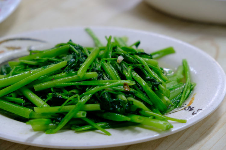 Close-Up Of Green Beans In Plate On Table