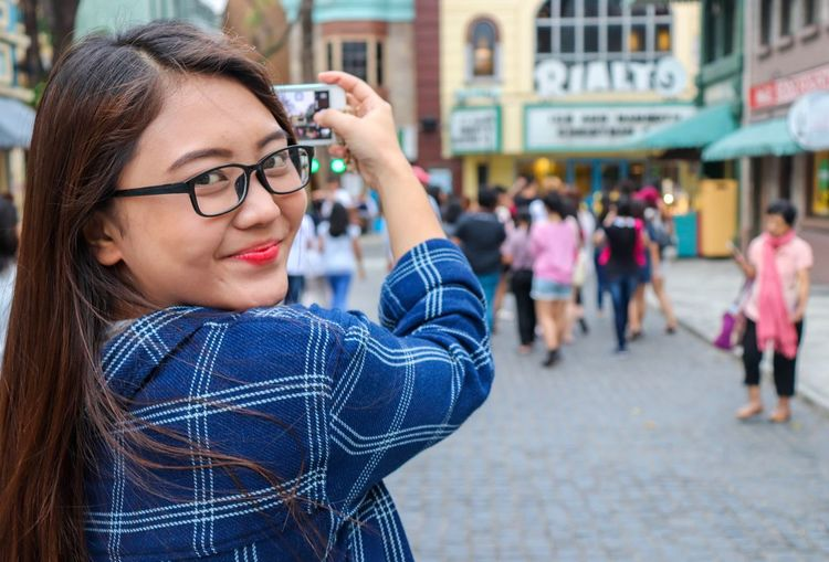 Happy 😁😁😁 Theme Park Fun Happy Wireless Technology Women Outdoors Beauty Young Adult Adult Eyeglasses  Photography Themes People Day Close-up One Person EyeEmNewHere