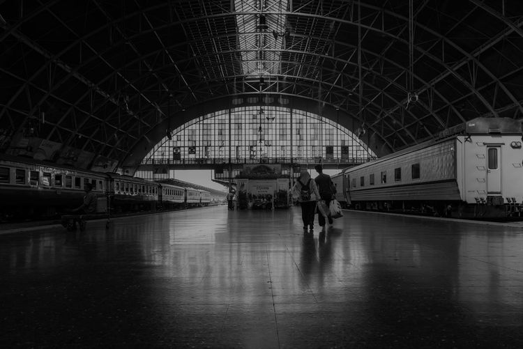 Transportation Architecture Mode Of Transportation Travel Arch Real People Public Transportation Built Structure Rail Transportation Railroad Station Men Walking Train Indoors  Group Of People Train - Vehicle Lifestyles Women Connection Ceiling Thailand Bangkok Thailand. Transportation Train Station Platform Travel Destinations Travel Photography