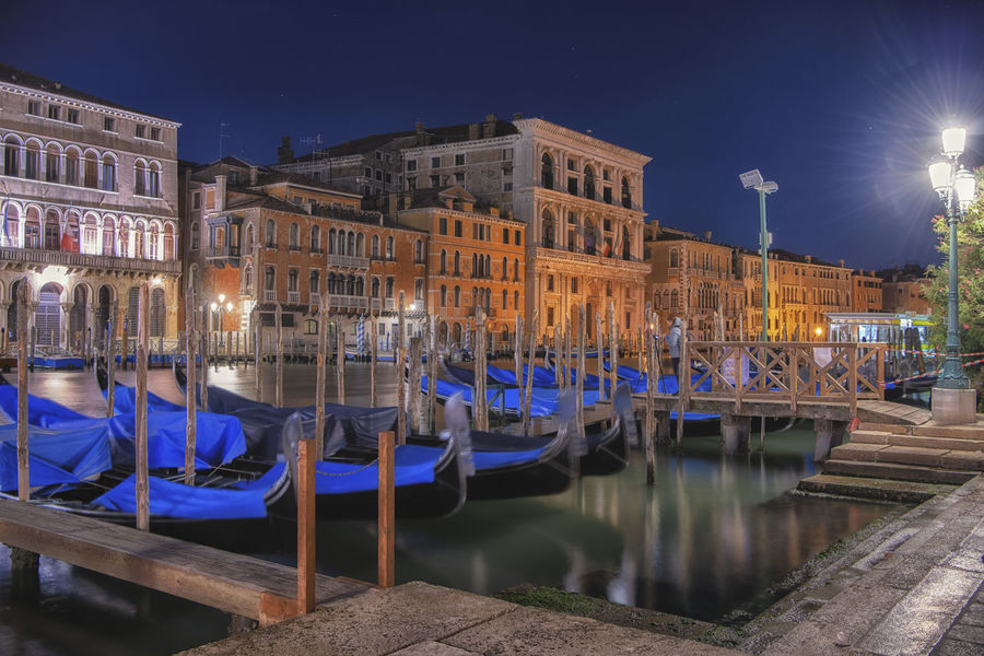 Architecture Reflection Travel City Illuminated Built Structure Nature Travel Destinations Sky No People Building Exterior Night Moored Canal Transportation Architecture Wooden Post Water Mode Of Transportation Nautical Vessel Gondola - Traditional Boat
