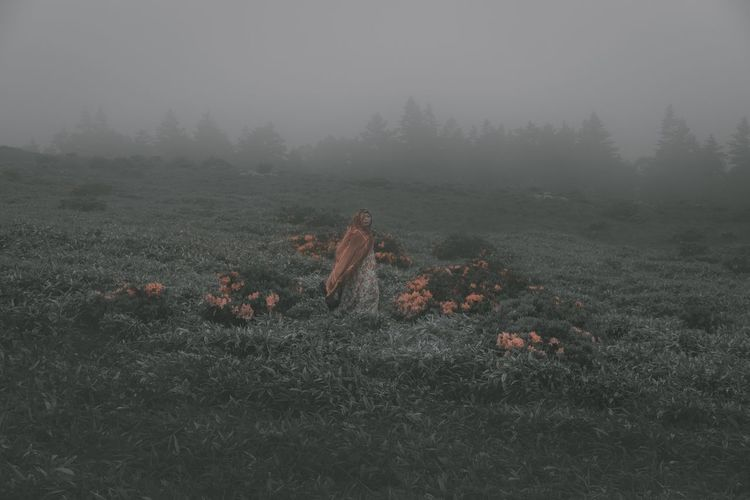 Nature Field Landscape Beauty In Nature Fog Grass Outdoors Orange Color Colors EyeEm Best Shots Beauty Mood One Person Beautiful Woman Lifestyles Weather