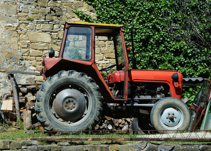 Agriculture Cultivate Industrial Land Vehicle Mode Of Transport No People Old Machine  Old-fashioned Outdoors Red Tractor Rural Transport Transportation Transportation Vintage Tractor