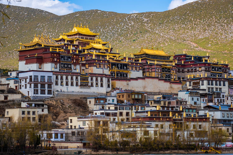 Architecture Building Exterior Built Structure Building Mountain Residential District City Nature No People Sky Day Outdoors Mountain Range House Town Window Land Tree Plant TOWNSCAPE Temple Shangrila Shangri-La Yunnan China Tibet Religion