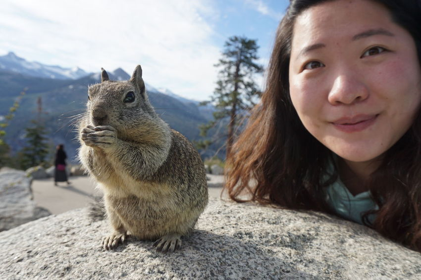 Who's the main here? : P One Animal One Person Headshot Outdoors Cheerful Yosemite National Park Glacier Point