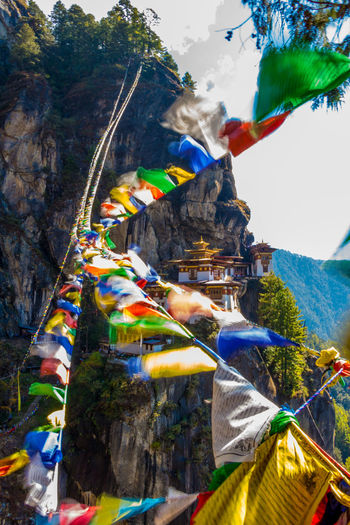 ASIA Architecture Buddhist Monastery Taktsang Tiger's Nest Bhutan Buddhism Cliff Heritage Paro Paro Taktsang Prayer Flags  Temple Tigers Nest Traditional Wind World Wonder