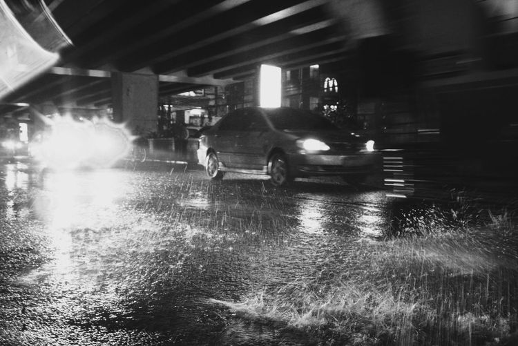 Blackandwhite Water Illuminated City Land Vehicle Wet Motorcycle Architecture Rainy Season Torrential Rain Vehicle Rain