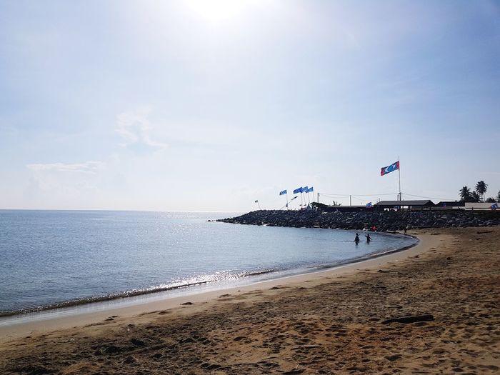 sabak beach Water Sea Beach Sand Patriotism Flag Sky Horizon Over Water Cloud - Sky Shore Sandy Beach Ocean Seaside Calm Wave Coastline EyeEmNewHere