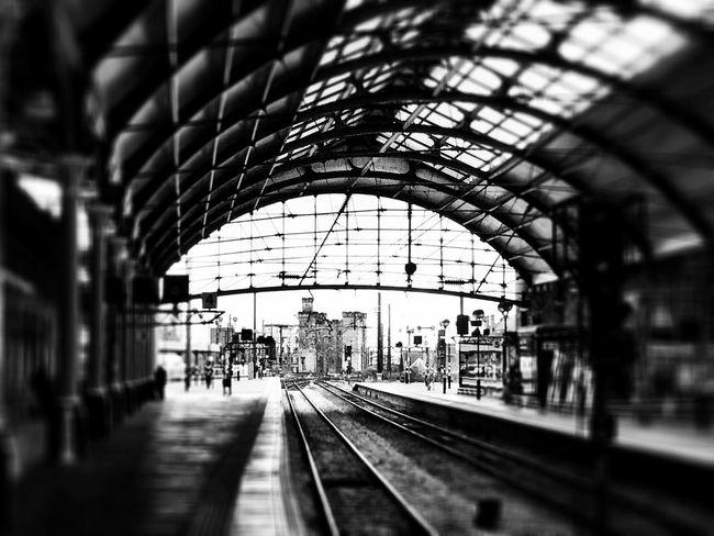 Newcastle Public Transportation Commuting Train Trainstation Blackandwhite
