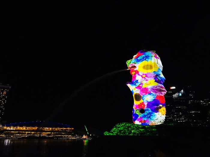 Merlion at night Nightlights Nightlife Merlion Singapore Night Copy Space Illuminated Multi Colored Water Nature No People Sky Architecture Lighting Equipment Creativity Decoration Pattern Outdoors Light Glowing Building Exterior Built Structure Art And Craft