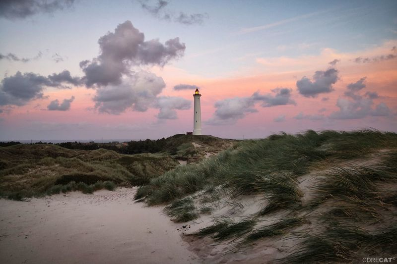 Huaweiphotography Denmark Denmark 🇩🇰 Landscape Landscape_Collection EyeEm Nature Lover EyeEm Masterclass Dramatic Sky Dunes Dunescape Northsea Sand Dune Lighthouse Sunset Sky Atmospheric Mood Romantic Sky