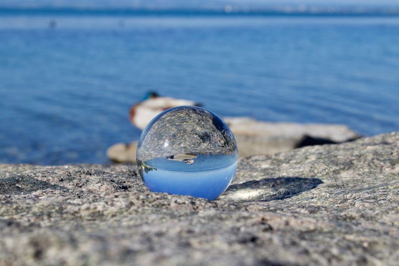 Close-up of water drop on rock at beach