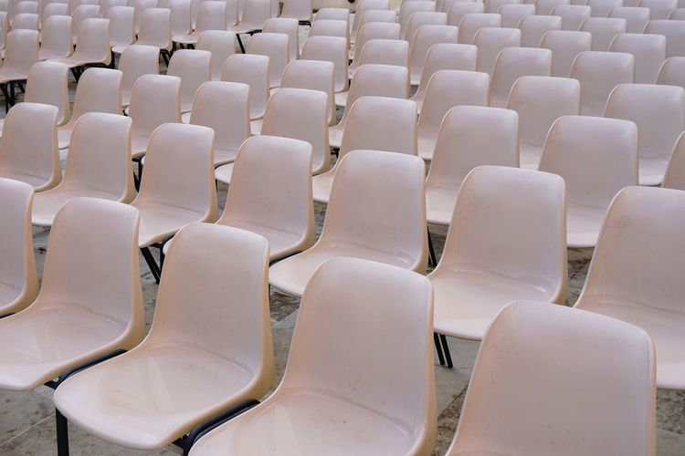 In A Row Seat Chair Large Group Of Objects No People Contemporary Minimal Minimalism Beautifully Organized