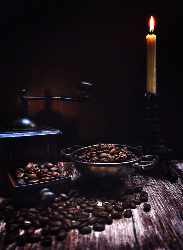 Backgrounds Candle Coffe Beans Coffee Coffee Grinder Coffee Time No People Wood