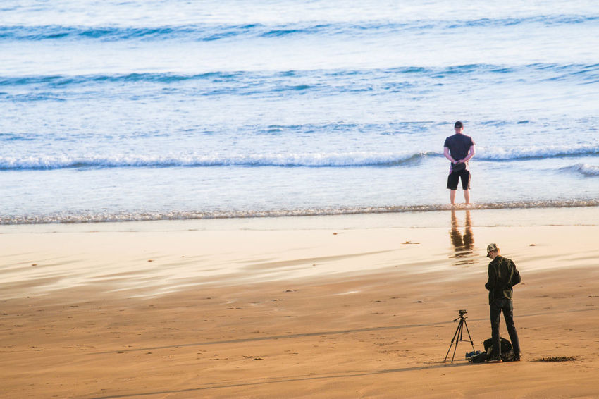 Stay as you are, I'm just changing lenses. Reflection Adult Beach Beauty In Nature Day Full Length Horizon Over Water Leisure Activity Lifestyles Men Nature One Man Only One Person Outdoors Photographer Real People Rear View Sand Scenics Sea Shore Sky Standing Tidal Vacations Walking Water Wave The Week On EyeEm