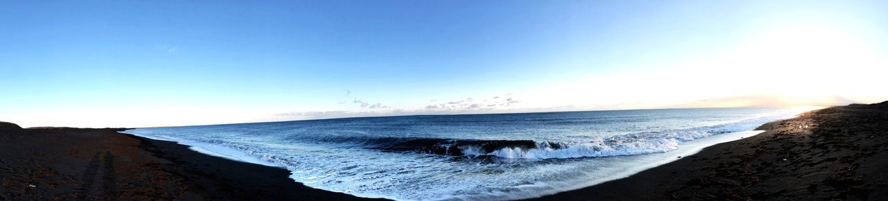 Black beach Iceland 2017 // pano Panorama Beach Sea Wave Beauty In Nature Nature Water Horizon Over Water Clear Sky Blue Sky Outdoors Day EyeEmNewHere Power In Nature