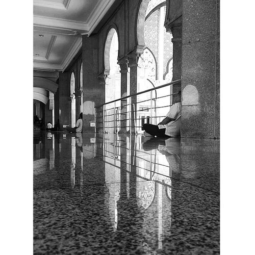 Sleep before zuhr... Sleep Zuhr Prayertime Muslim mosque reflection blackandwhite bnw monochrome vscocam igers igersmalaya tigabikingambar