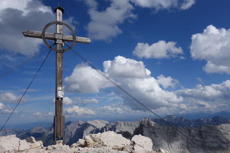 Birkkarspitze Karwendel Beauty In Nature Blue Cloud - Sky Day Karwendelgebirge Landscape Low Angle View Mountain Nature No People Outdoors Scenics Sky Tranquil Scene Tranquility Summit Cross