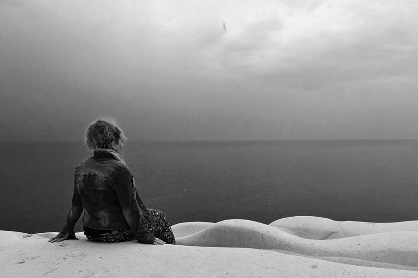 Girl Looking at the Sea Blackandwhite Sky And Clouds Scala Dei Turchi Sicily
