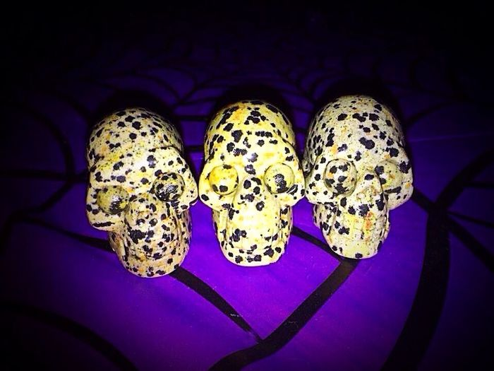 """Dalmatian Jasper Skulls, I call them my✨ """"Three Stooges""""✨ Metaphysical Grounding Stone Nature Stones N Rocks Beauty In Nature IPhone Photography Dalmatian Jasper Loyalty Stone Skulls Jasper Close-up No People Beautiful One Man At Peace With Myself  Learning Peace Through Photography."""