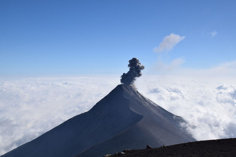 Active fuego volcano visible from acatenango volcano, guatemala