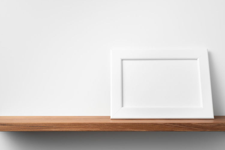 High angle view of white table against wall