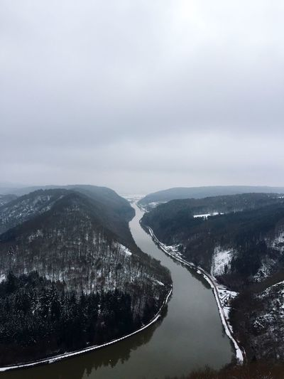 Saar River Germany🇩🇪 Saarland Saar Nature Beauty In Nature Winter Cold Temperature Tranquil Scene Tranquility No People Scenics Sky Mountain Outdoors Snow Day Landscape Water Tree Shades Of Winter