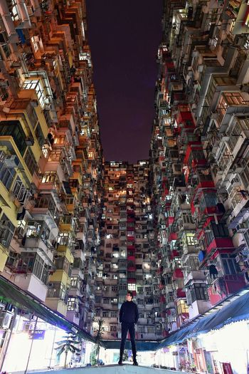 Self portrait - Ghost in the Shell mode Building Exterior Architecture Real People Illuminated Built Structure City Outdoors Night Sky Leisure Activity Lifestyles Market One Person People Ghost In The Shell HongKong Hong Kong From Below With Tripod