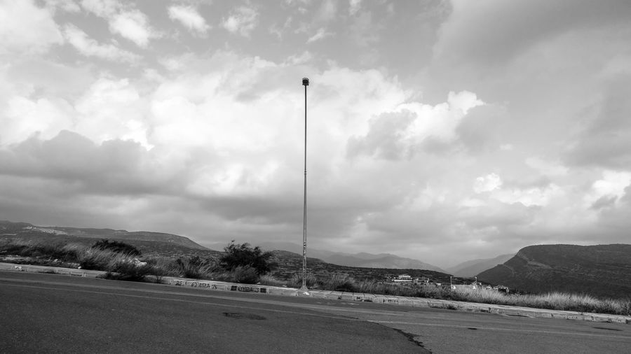 Sky Cloud - Sky Transportation Road No People Nature Street Day Mountain Scenics - Nature Beauty In Nature Tranquility Environment Tranquil Scene Outdoors Land Street Light Landscape Non-urban Scene Blackandwhite Black And White