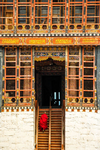 ASIA Dzong Monastery Thimphu Architecture Bhutan Buddhism Buddhist Temple Building Building Exterior Built Structure Cultures Entrance Monochrome One Person Ornate Staircase Streetphotography Traditional