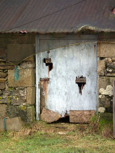 Old Barn Door Bad Condition Barn Barn Door Building Exterior Corregated Steel Damaged Day Deterioration Drystone Drystone Wall Exterior Mysterious No People Old Building  Old Door Outdoors Outhouse Stone Building Weathered Wooden Wooden Door