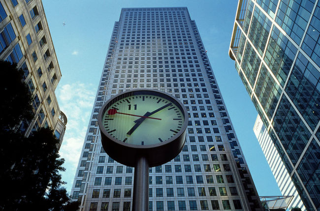 Architecture Building Exterior Built Structure Clock Clock Face Docklands Instrument Of Time London Low Angle View Modern Skyscraper Time Uk