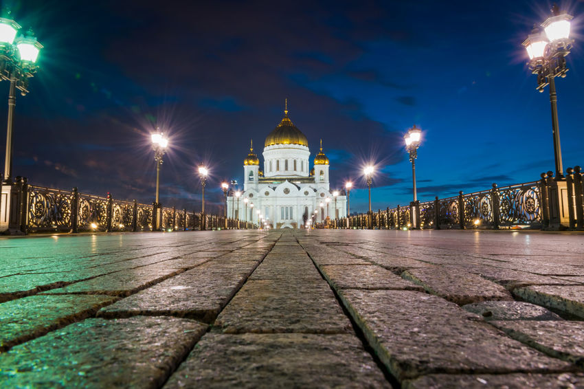 Cathedral Of Christ The Saviour Cityscape Moscow, Russia Architecture Building Building Exterior Built Structure City Direction Dome Footpath Illuminated Light Beam Lighting Equipment Nature Night No People Outdoors Paving Stone Religion Sky Street Street Light The Way Forward Travel Destinations